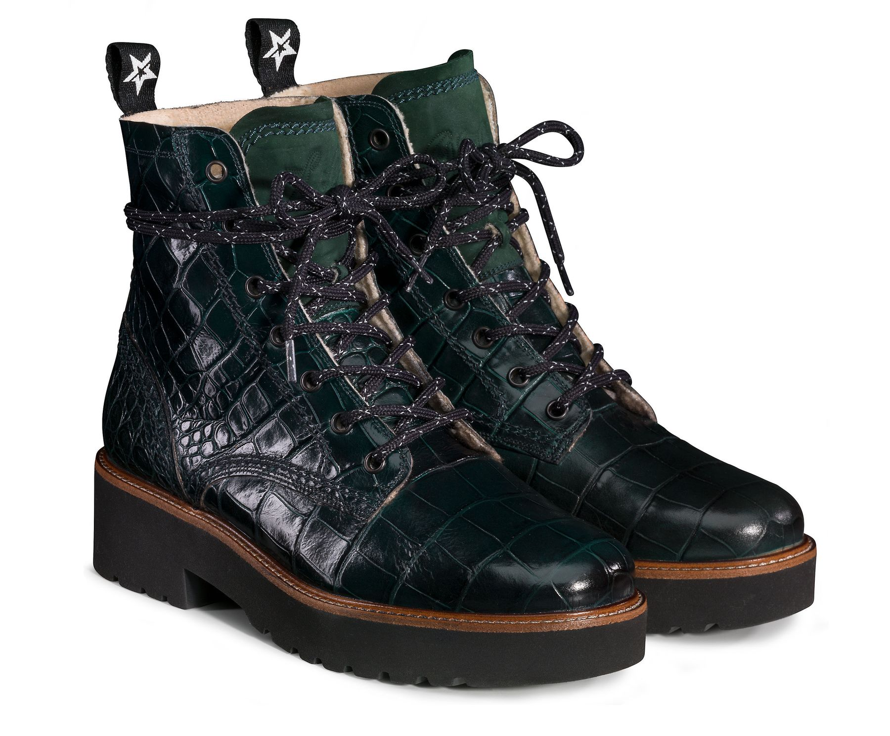 Sito di previsione vanità gettone  Lace-up booties with warm lining in green - Paul Green