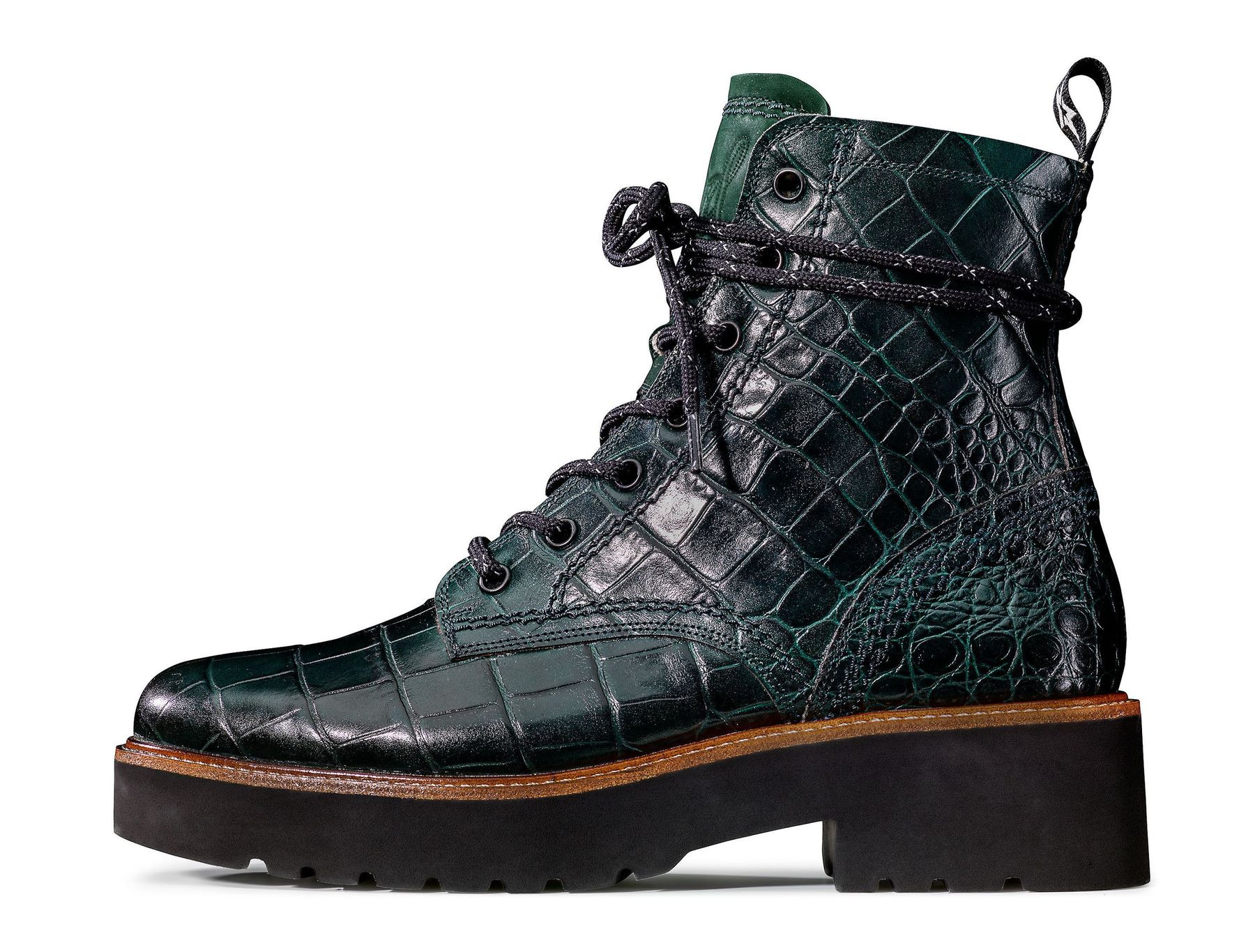 Lace up booties with warm lining in green Paul Green