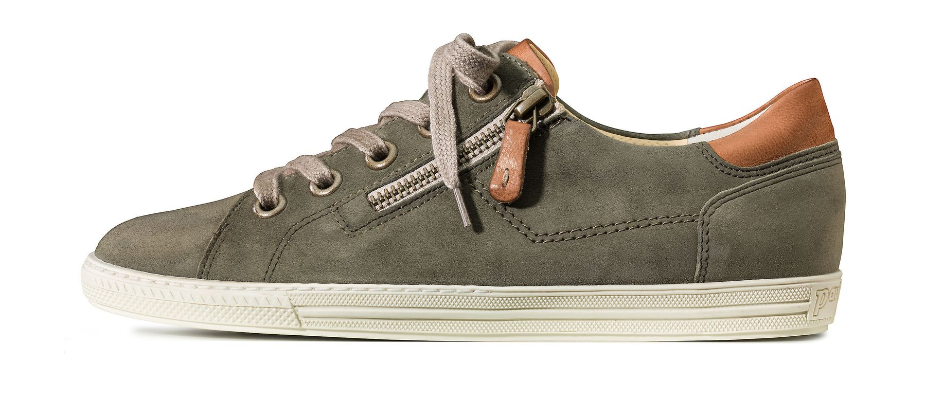 Sneakers in olive with side zipper