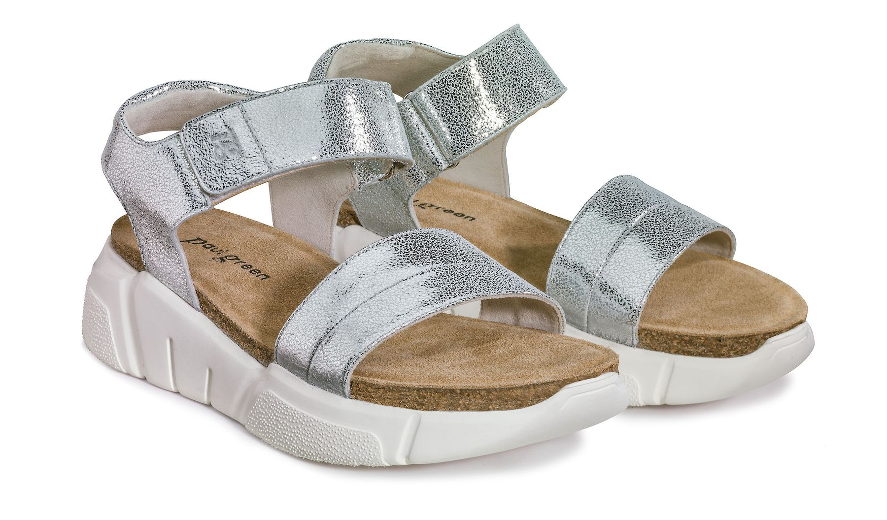 9032185108f Sandals, silver with elastic soles - Paul Green
