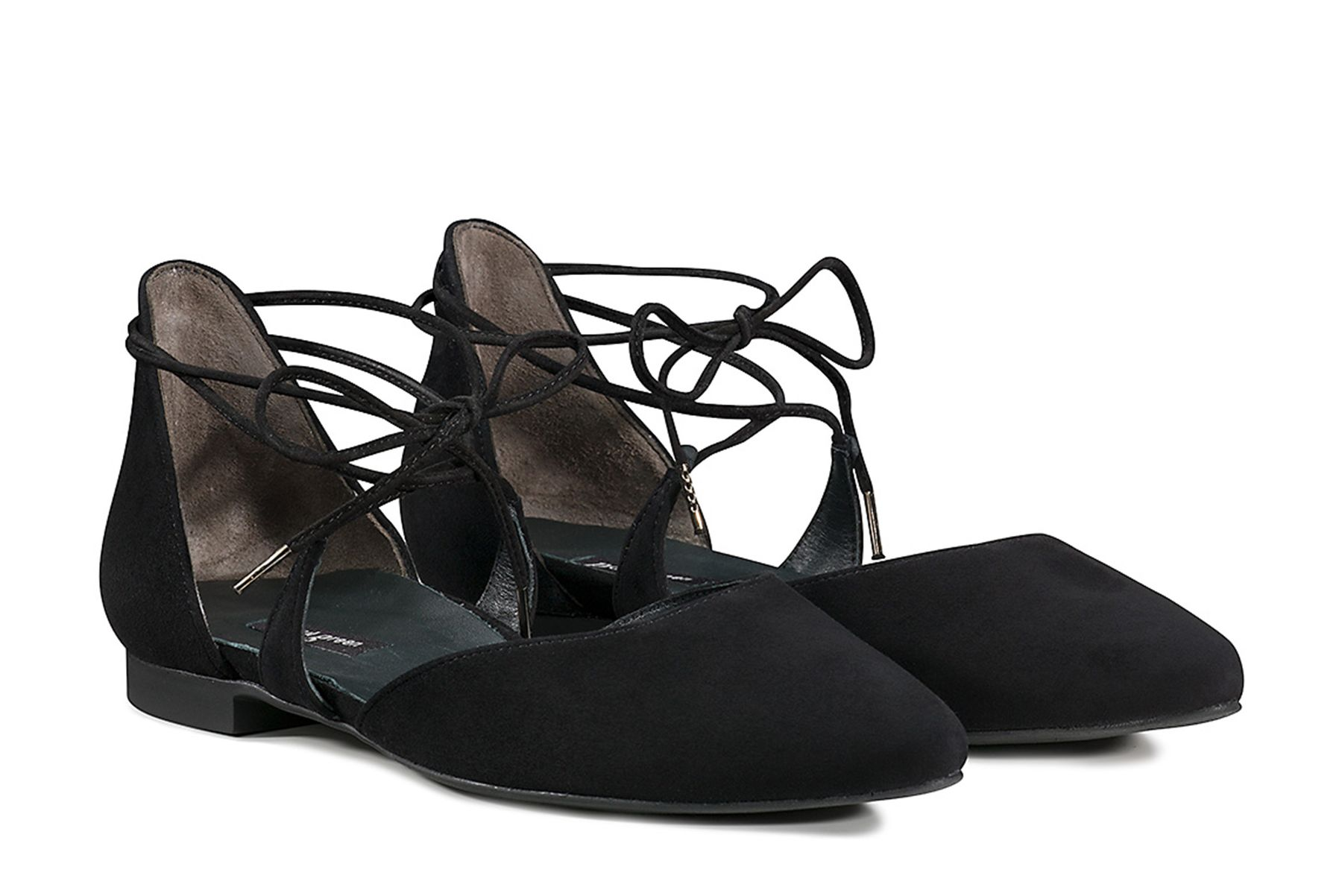 bf1e50223 Playful Lace-Up Ballerinas in Black - Paul Green