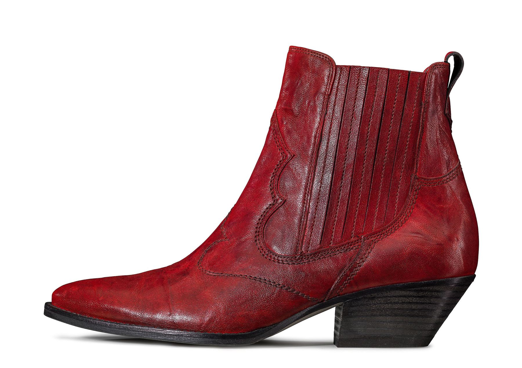 Ankle boots in red with a Western look Paul Green