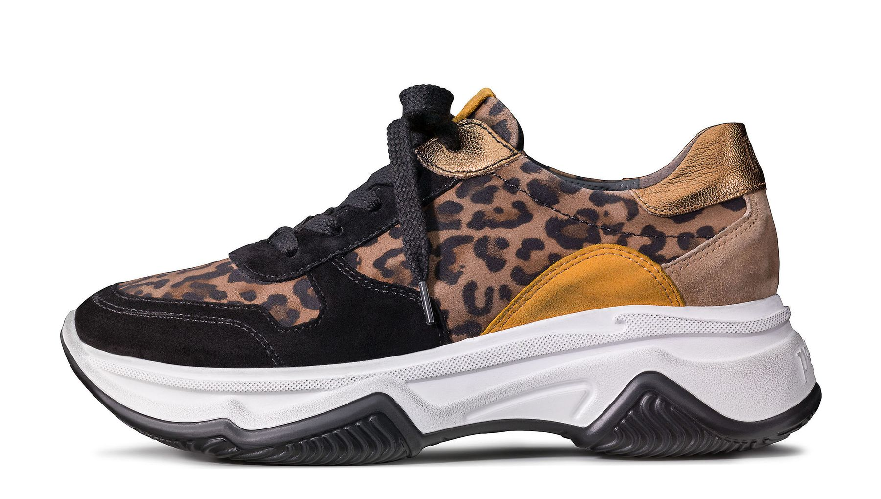 Plateau sneakers in black with leopard