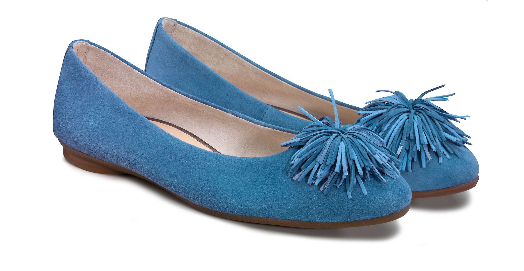 Soft ballerina shoes in blue with pom poms Paul Green