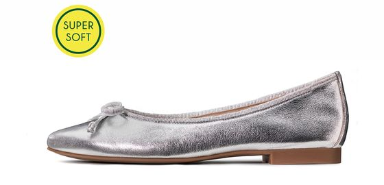 Soft ballerina shoes, silver, soft leather Paul Green