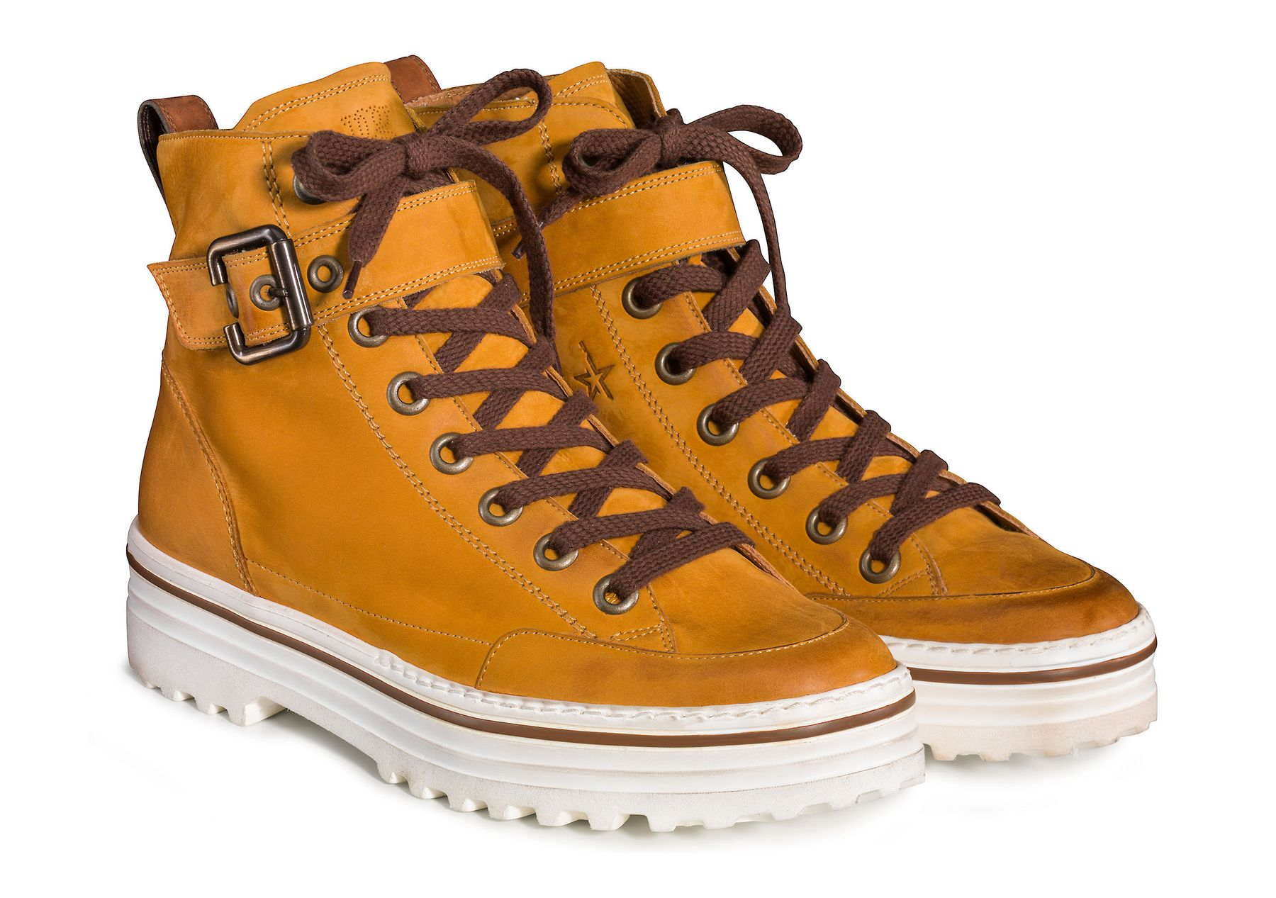 timeless design 6c393 996c3 Lace-up ankle boots in curry yellow - Paul Green