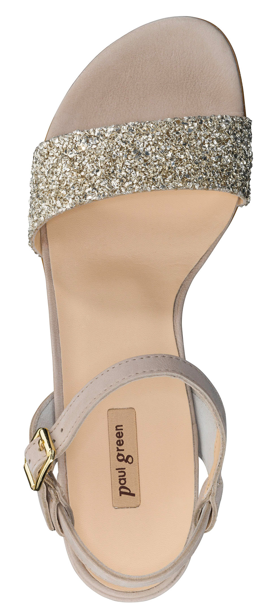 separation shoes fbf0e 0aaba Beige Sandals with Glitter - Paul Green