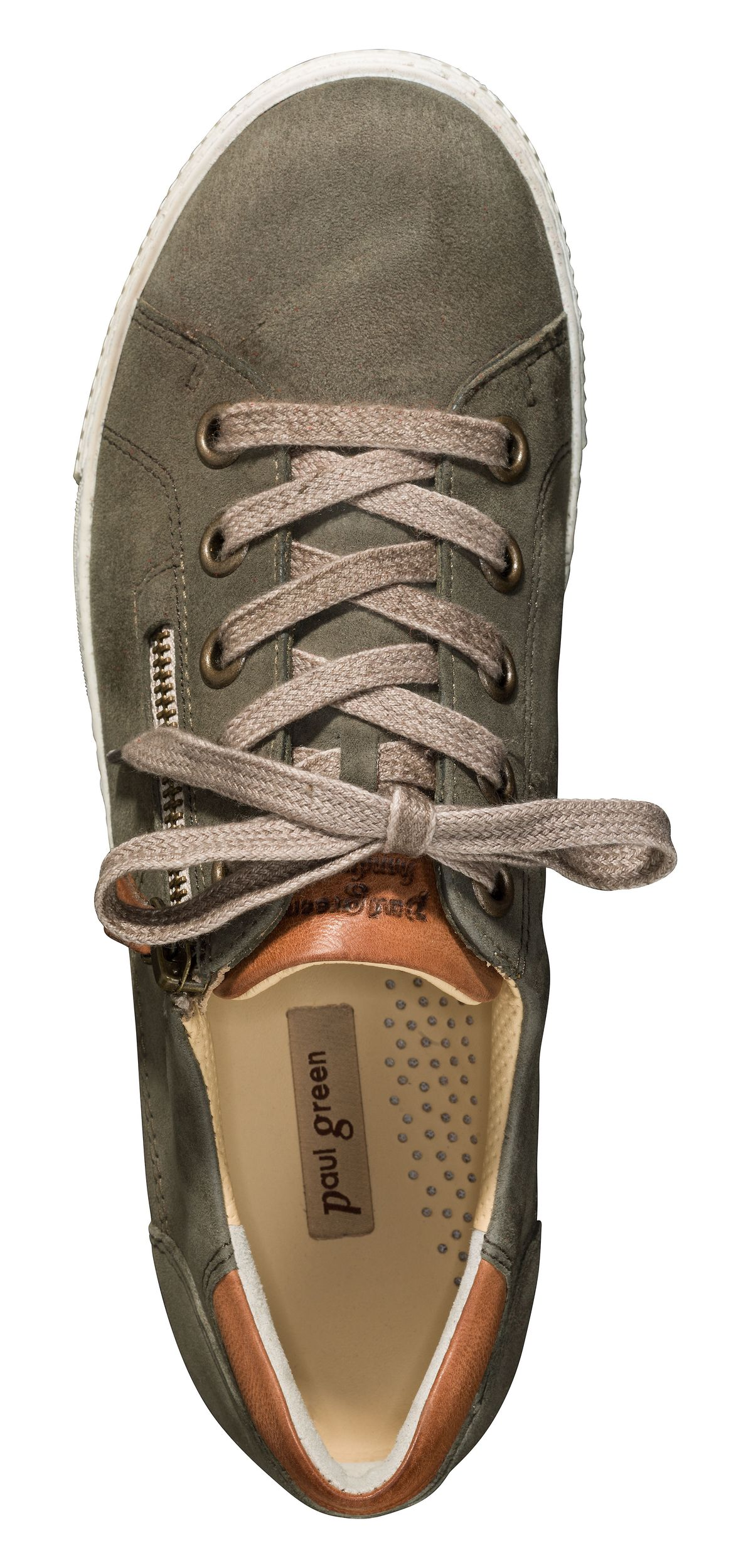 Sneakers in olive with side zipper Paul Green